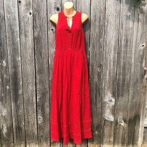 Madewell Red Maxi Piazza Dress Tassel Tie Boho